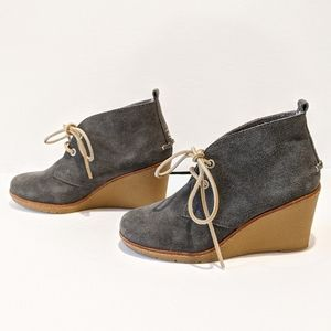 Sperry gray suede wedge ankle boots 5 1/2